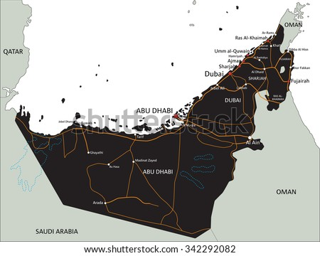 United Arab Emirates Vector Map Download Free Vector Art Stock