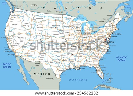 High detailed United States of America road map with labeling. #254562232