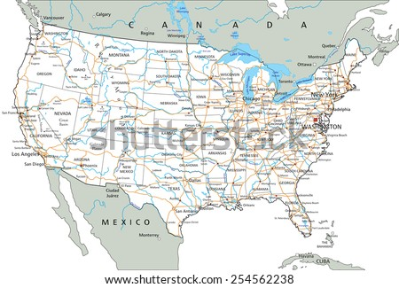 High detailed United States of America road map with labeling. #254562238