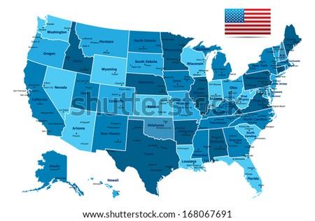 High detailed USA Map - stock vector