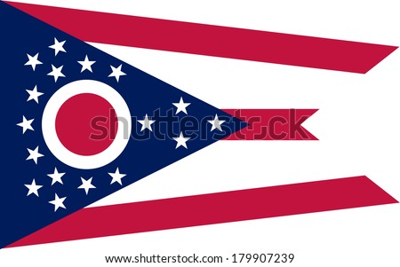 High detailed vector flag of Ohio