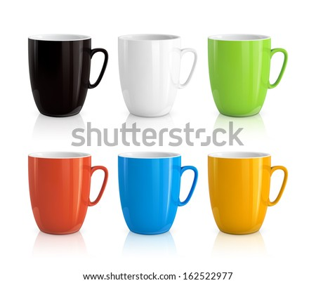 Shutterstock High detailed vector illustration of colorful cups isolated on white background