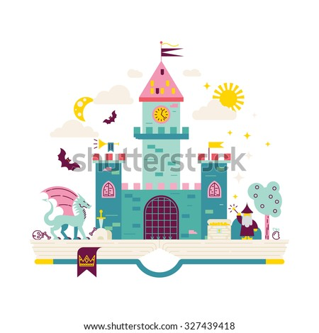 High detailed vector illustration of magic kingdom. Modern flat design. Wizard, dragon and castle on the pages of the book. Illustration for children education.