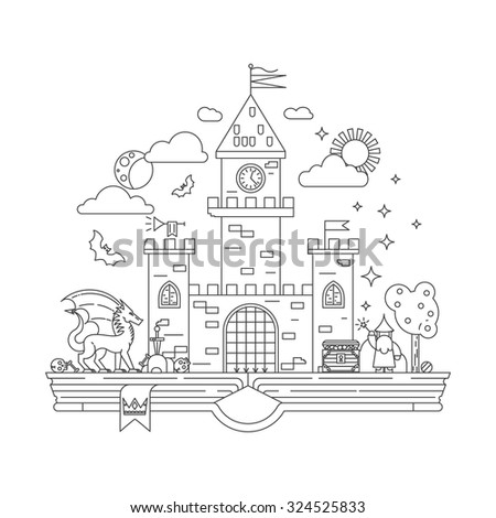 High detailed vector illustration of magic kingdom. Modern thin line design. Wizard, dragon and castle on the pages of the book. Illustration for children education.