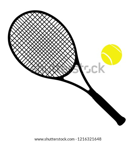 High detailed vector illustration of tennis racket and ball isolated on white background