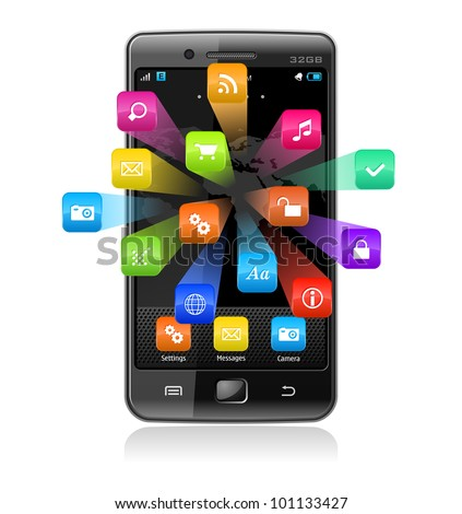 High detailed vector illustration of touchscreen smartphone with colorful application icons isolated on white background with reflection effect