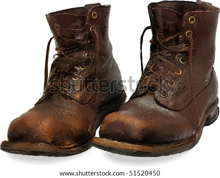High detailed vector illustration old brown boots. Mesh. Also please see other variants of this picture - image ID 37020937 (low detailed vector), image ID 29325100 (photography)