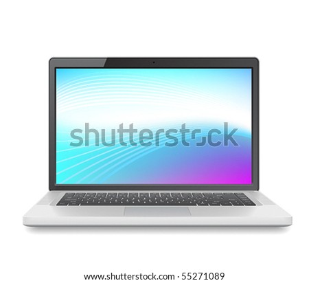 High detailed vector laptop with abstract colorful background on screen.