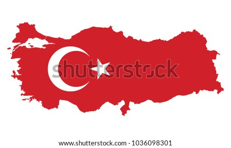 High detailed vector map and flag - Turkey
