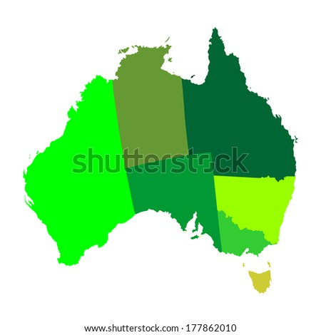 High detailed vector map - Australia outline. Isolated on white background. All elements are separated. Green illustration.