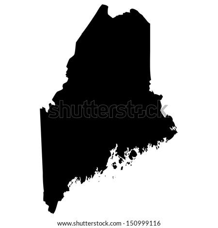High detailed vector map - Maine