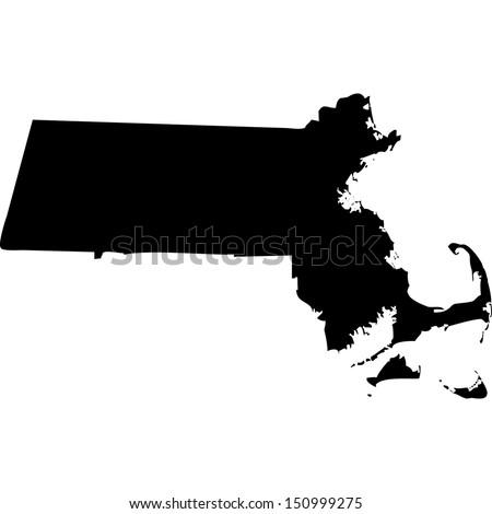 High detailed vector map - Massachusetts  Stock fotó ©