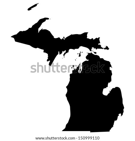 High detailed vector map - Michigan