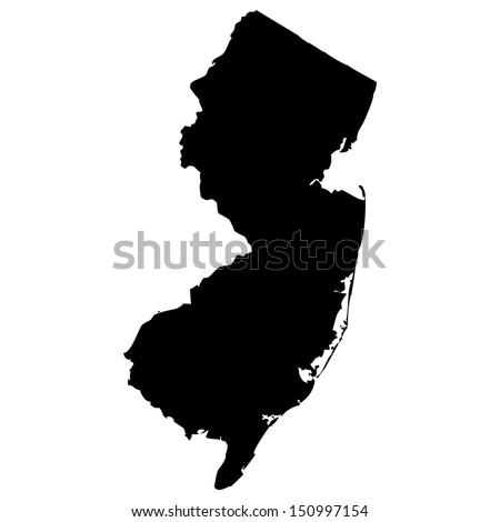 High detailed vector map - New Jersey