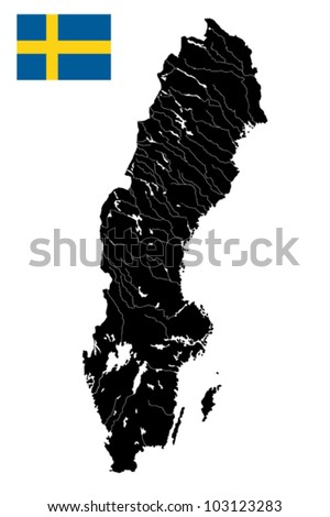 High detailed vector map of Sweden with lakes, rivers and island and flag.