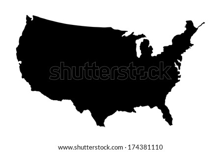 Free us map silhouette vector high detailed vector map united states black silhouette isolated on white background sciox Images