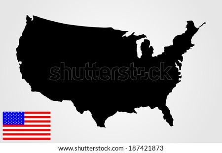 Free US Map Silhouette Vector - Black us map