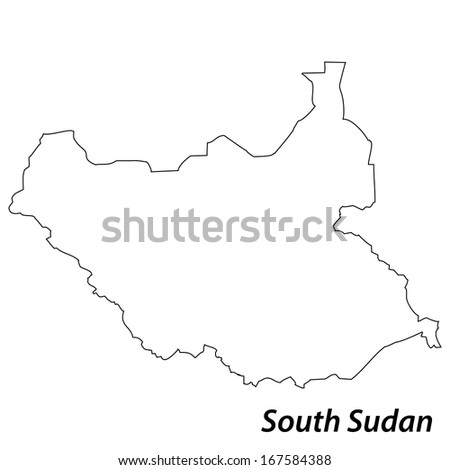 High detailed vector map with contour - South Sudan