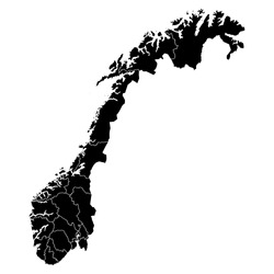 High detailed vector map with counties/regions/states - Norway