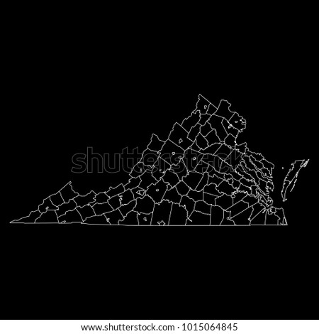 High detailed vector map with counties/regions/states - Virginia #1015064845