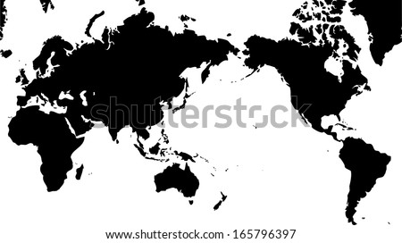White outline world map vector download free vector art stock high detailed vector map world map with pacific centered gumiabroncs Image collections