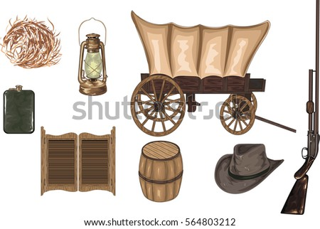 high detailed western icons  ...