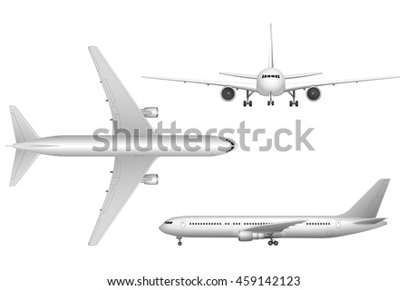 high detailed white airplane on