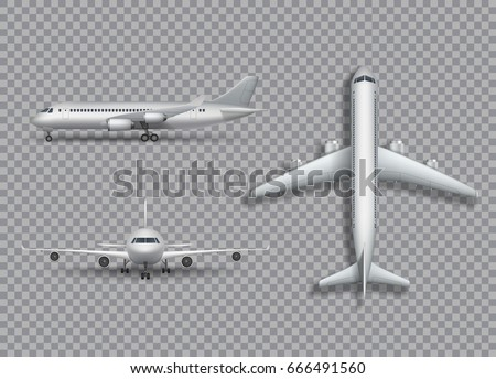 High detailed white airplane on a white background. Airplane in profile, from the front and top view isolated vector illustration Airline Concept Travel Passenger planes set. Jet commercial airplane.