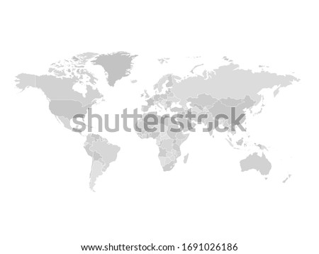High detailed world map in greys colors on white background. Perfect for backgrounds, backdrop, business concepts, presentation, charts and wallpapers.