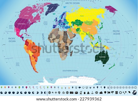 high detailed world map with