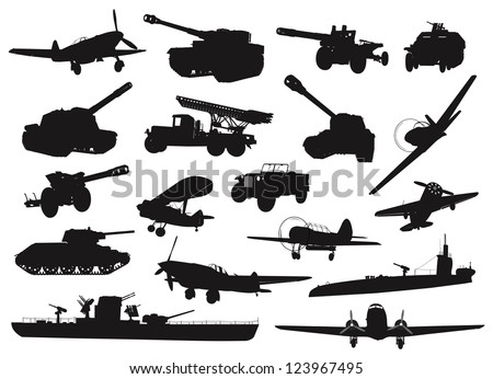 High detailed World War 2 military silhouettes set. Vector