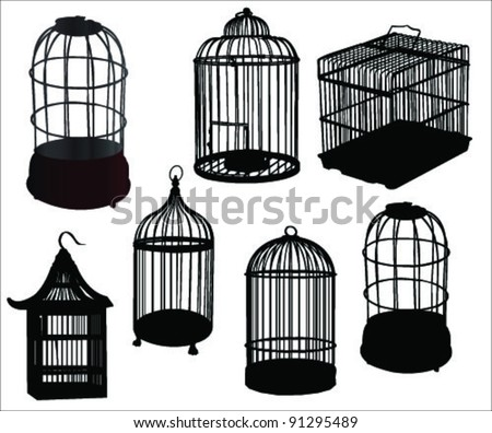 High details bird cages vector