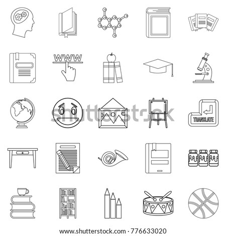 High education icons set. Outline set of 25 high education vector icons for web isolated on white background