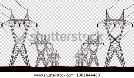 High electric tower isolated on transparent background.Graphic vector