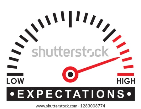 high expectations - monitoring  scale -   illustration template Foto stock ©