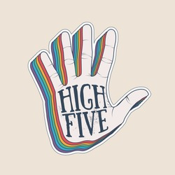 High five hand palm silhouette with vintage styled rainbow shadow sticker design template. Vector eps 10 illustration