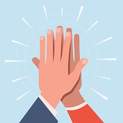 High five hands. Two hands giving high five informal greeting with friendly partners, great work achievement. Team success vector slapping working gesture concept
