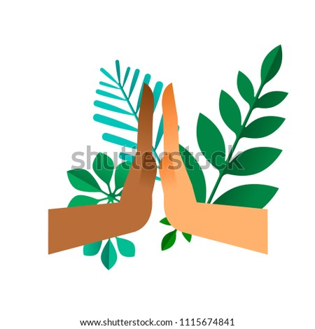 High five hands with green leaves on isolated background. Nature help teamwork concept or environment conservation team illustration. EPS10 vector.