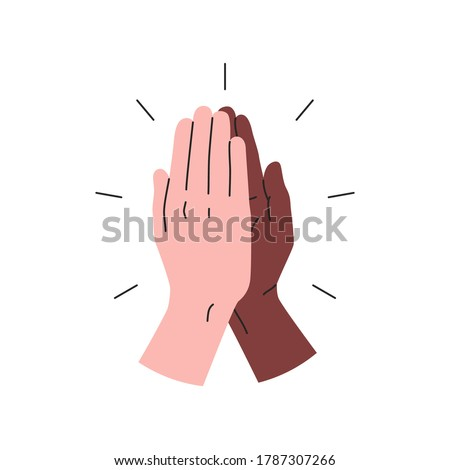 High five icon. Vector illustration of two hands giving a high five for great work. Black and white interracial hands giving high five. People team give hand slapping gesture Stockfoto ©