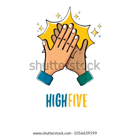 high five vector illustration. succes teamwork vector concept illustration with two mans hands isolated on white background #1056639599
