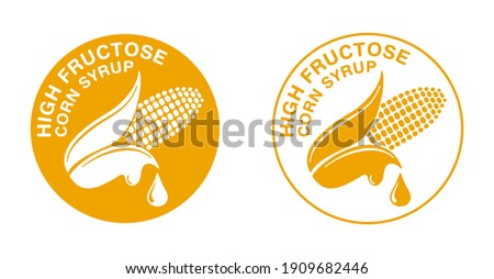 High Fructose Corn Syrup sweetener yellow pictogram icon - ear of corn and drop of food additive - isolated vector emblem Photo stock ©