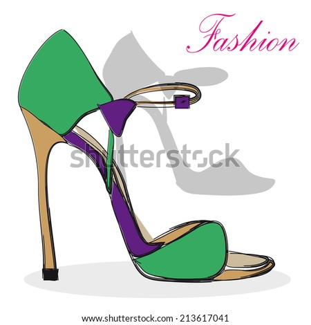 high heel  purple and green