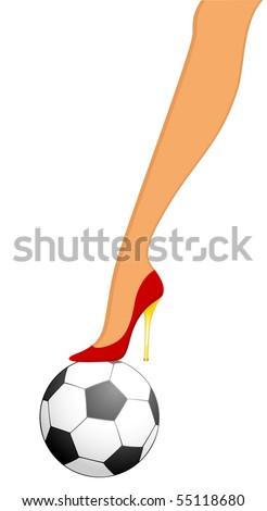 High heel soccer against white background