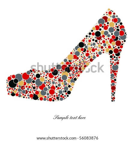 High-heeled shoes - stock vector