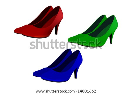 high heels in 3 different colors