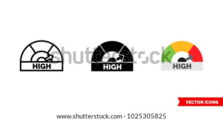 High icon of 3 types: color, black and white, outline. Isolated vector sign symbol.