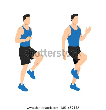 High knees. Front knee lifts. Run. and Jog on the spot exercise. Flat vector illustration isolated on white background Сток-фото ©