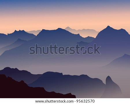 high mountains in a morning fog