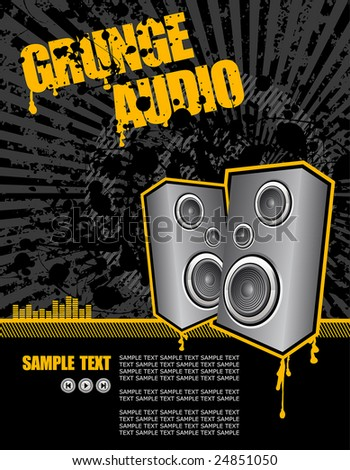 high powered speakers on black grunge background - stock vector