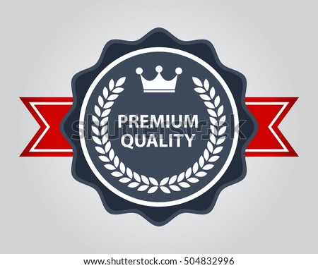High Quality Badge. Premium Award and Label with Red Ribbon.